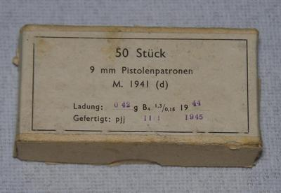 Tysk 9 mm. ammunition - 1945